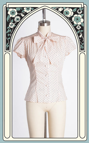 Heart of Haute Estelle Blouse in Vintage Polka Dot Pink