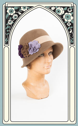 1920s Style Country Garden Wool Cloche in Light Brown