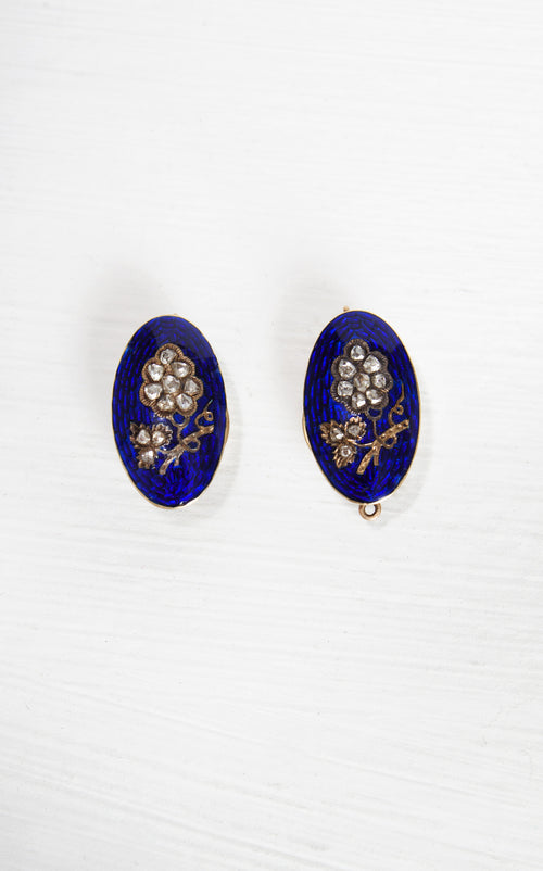 DAZZLING Vintage 1890s Victorian 18k Gold and Blue Enamel Guilloche Floral Studs with Old Mine Cut Diamonds // Estate Jewelry //Fine Jewelry