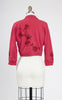 SOLD -- 1950s Rose Wool Cropped Cardigan with Embroidered Flowers