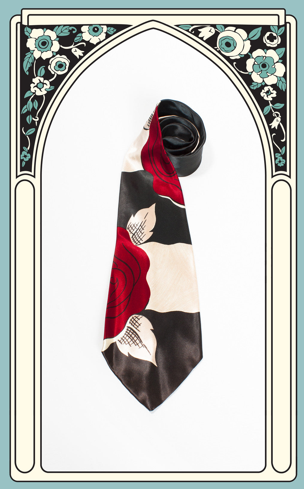 1940s Beau Brummell Red Rose Tie