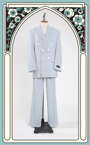 Il Canto 1920s Style Men's Double Breasted Seersucker Three Piece Suit