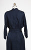 1950s Helga Navy Blue 3/4 Sleeve Silk Day Dress