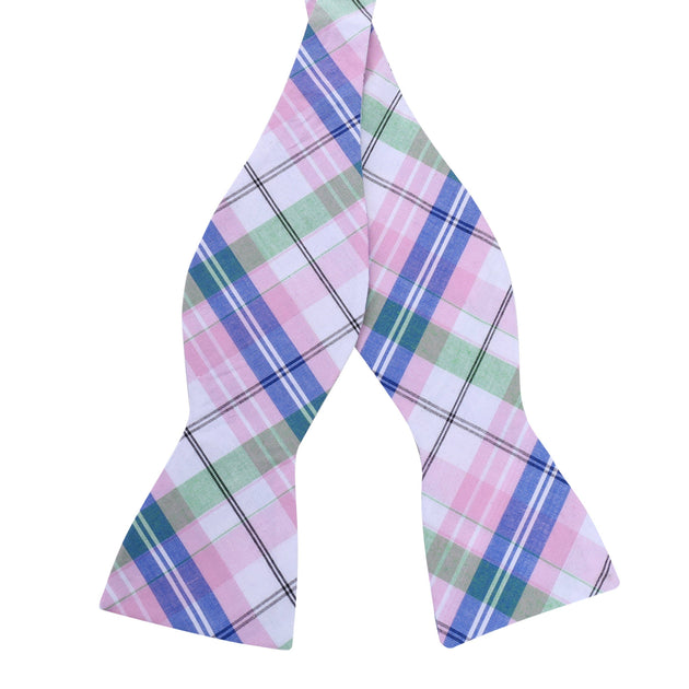 Spring Plaid Cotton Bow Tie