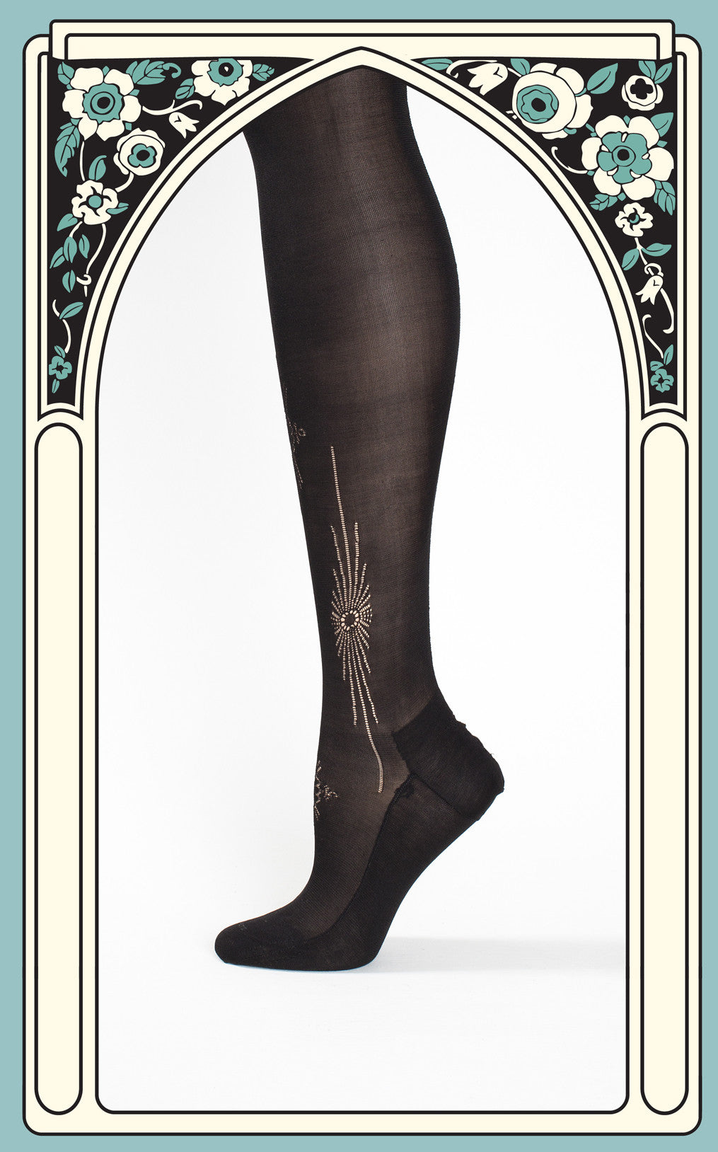 SOLD -- Rare 1920s Van Raalte Black Thigh High Silk Seamed Stockings with Starburst Cutouts