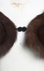 1940s Brown Mink Stole with Animal Head and Crocheted Snap Closure