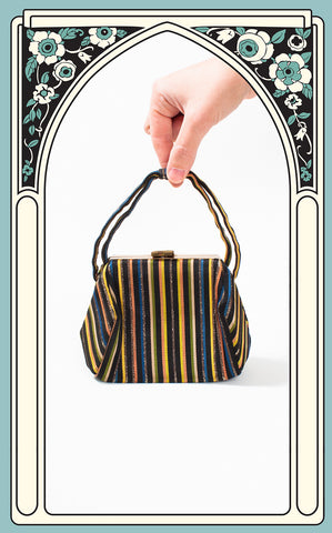 1940s Handmade Striped Silk Rayon Handbag