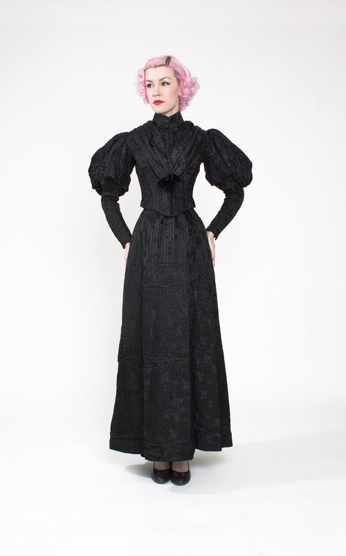 Rare 1890s Victorian Striped Silk Mourning Dress with Acorn Pattern & Gigot Sleeves