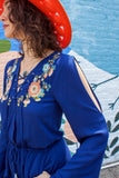 1970s Style Boho Split-Sleeve Embroidered Romper