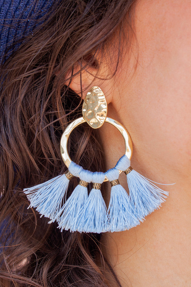 Gold Tone Blue Fringe Earrings