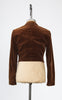 1950s Brown Velvet Cropped Jacket with Rounded Collar