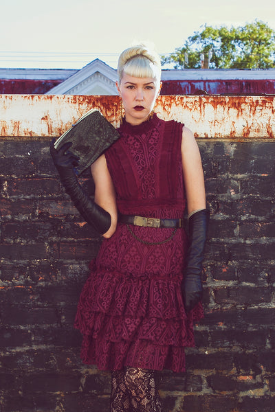Victorian Revival Burgundy Lace Dress