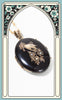 SOLD -- 1870s Victorian 12k Gold & Black Enamel Mourning Locket with Seed Pearls
