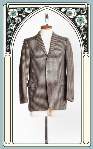 1960s Mr. Chips Brown Striped Wool Tweed Sport Coat