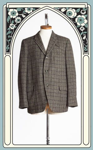 1950s Harris Tweed Olive Green & Brown Checked Tweed Sport Coat with Throat Latch
