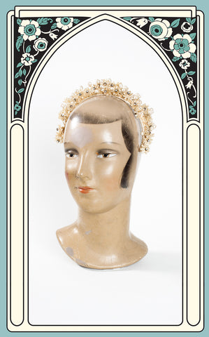 1930s Wax Flower and Rhinestone Bridal Headband