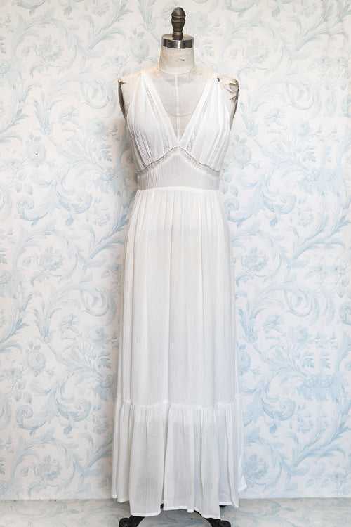 Ivory Boho Plunging Back Tiered Cotton Maxi Dress