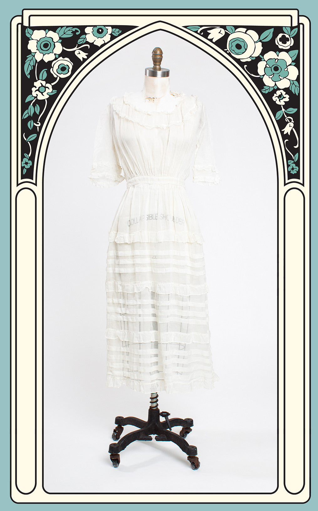Romantic 1910s Edwardian Striped & Ruffled Cotton Gauze Lawn Dress