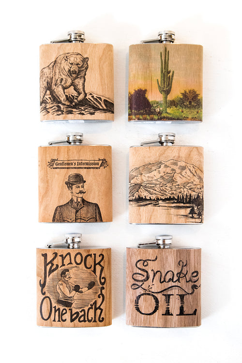 Wood Wrapped Flasks (6 Styles)