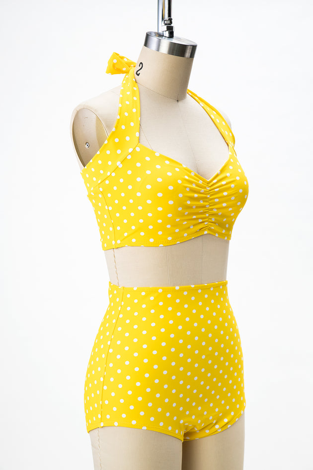 1950s Style Yellow Polka Dot 2 Piece Swimsuit