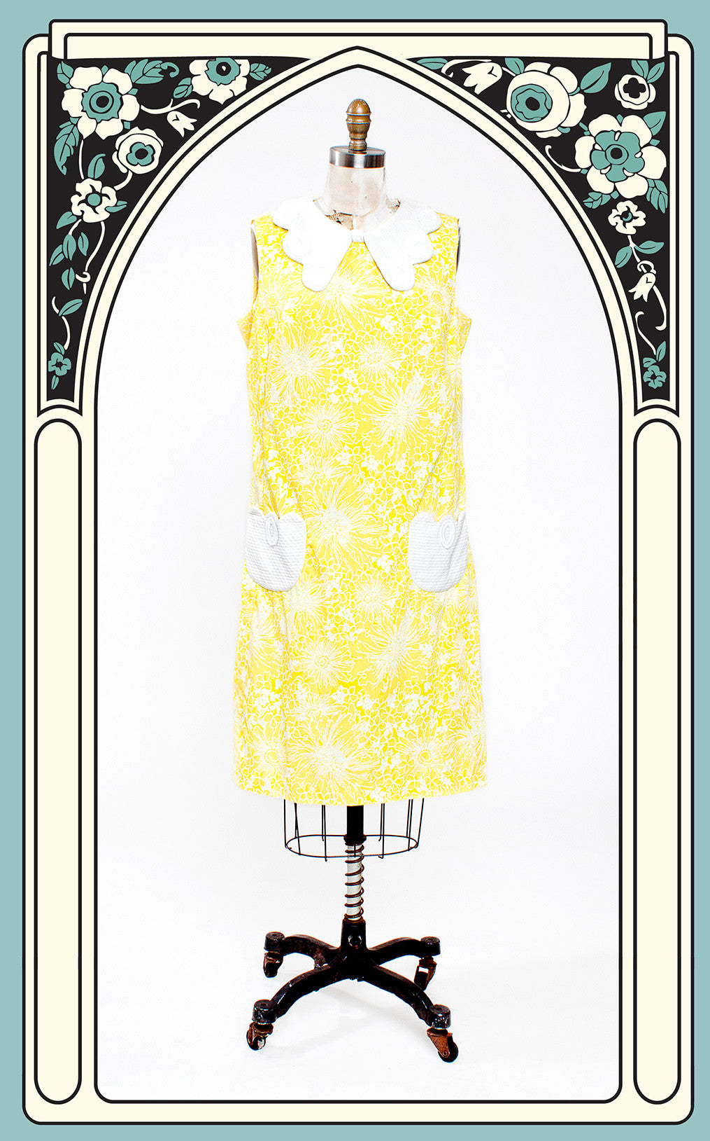 Mid-1960s Lilly Pulitzer Yellow Floral Shift Dress with Butterfly Collar