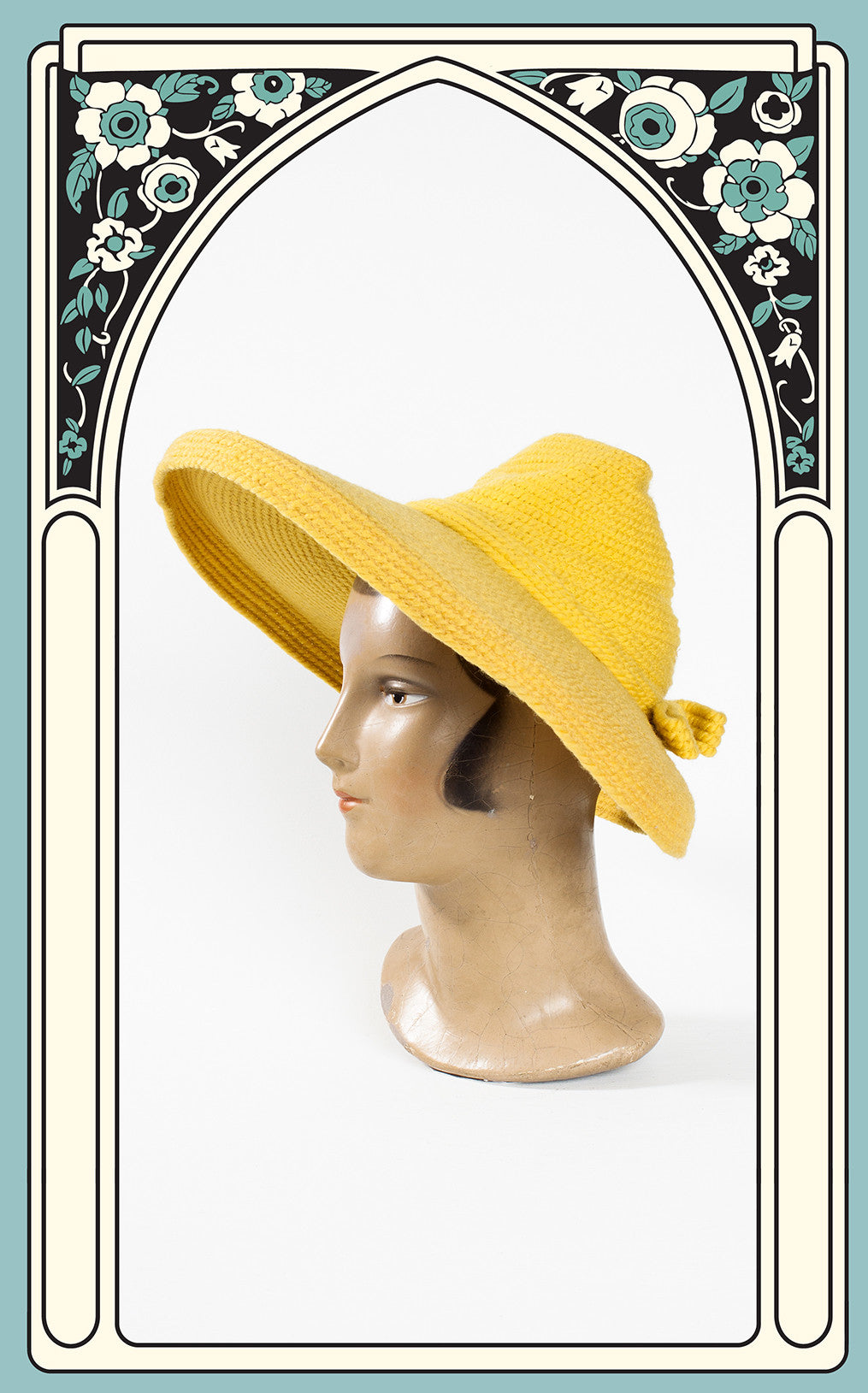SOLD -- 1940s Needlepoint by Everett Yellow Wool Knit Picture Hat