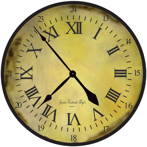 Burnish Sun Large Roman Numerals Complete this  Wall Clock - James Frederick Floyd
