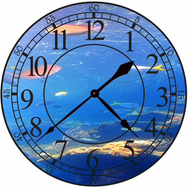 Oceans Below Wall Clock - James Frederick Floyd