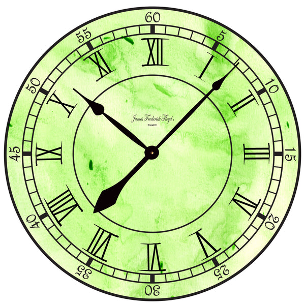Wall Clock Bold Grassy Greens - James Frederick Floyd