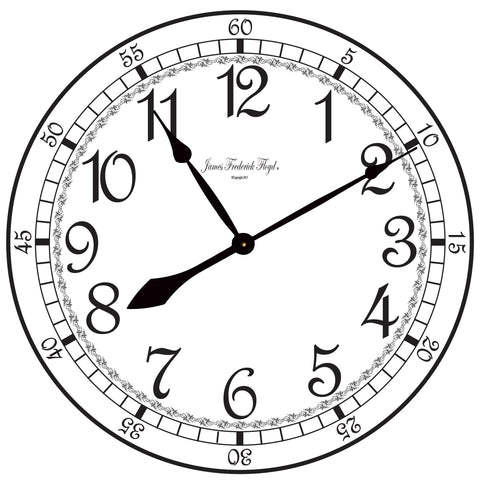 Bold White Finish Wall Clock with Black Arabic Numerals - James Frederick Floyd