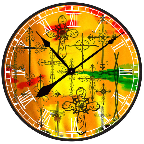 Sun Rise Crosses Wall Clock - James Frederick Floyd
