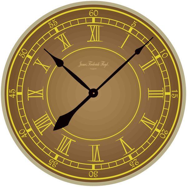 Earth Tone Wall Clock with Gold accented Roman Numerals - James Frederick Floyd