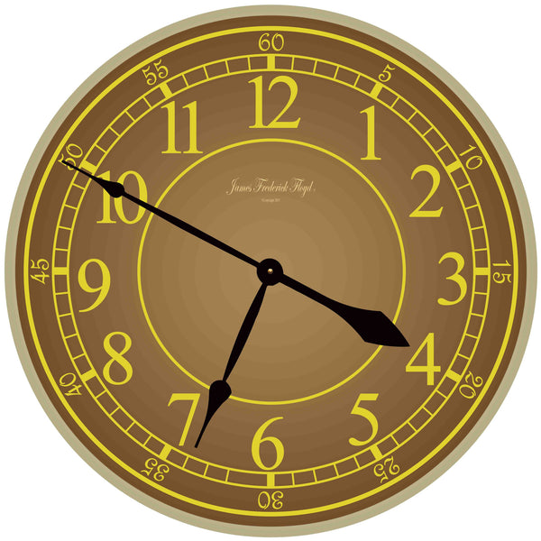 Earth Tone Wall Clock with Large Arabic Numerals - James Frederick Floyd