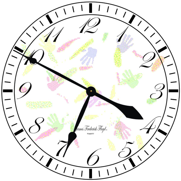 Clocks - Childs Hand Print - Wall Clock - James Frederick Floyd