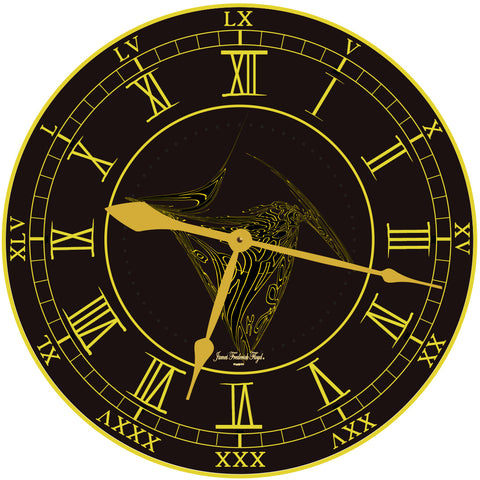 Black Wall Clock with Large Gold Roman Numerals - James Frederick Floyd