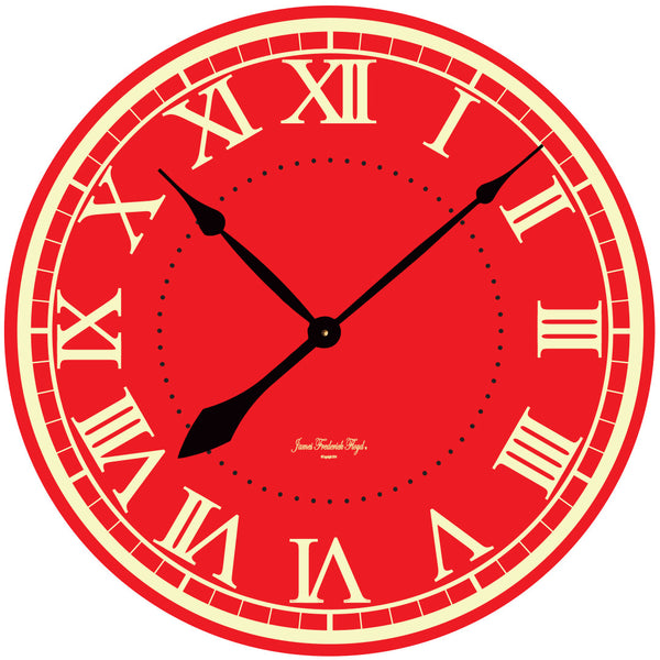 Large Bold Red Wall Clock - James Frederick Floyd