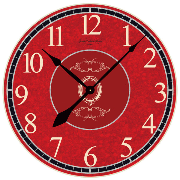 Rich Red Wall Clock with Faux Crackle - James Frederick Floyd