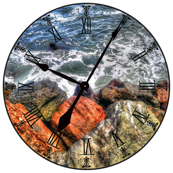 Oceans on the Rocks Wall Clock - James Frederick Floyd