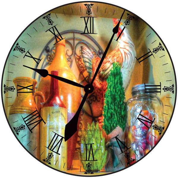 Country Rooster Moonshine and Mason Jar Wall Clock - James Frederick Floyd