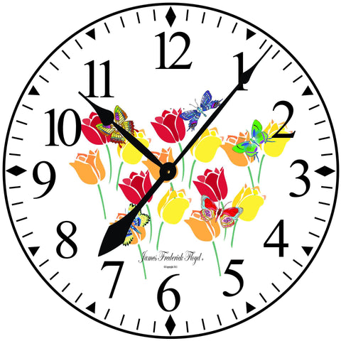 Butterflies and Tulips Wall Clock - James Frederick Floyd