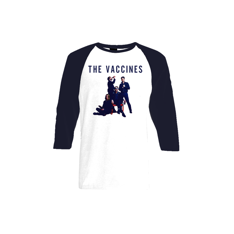 Album Cover White and Navy Baseball Tee - The Vaccines Store