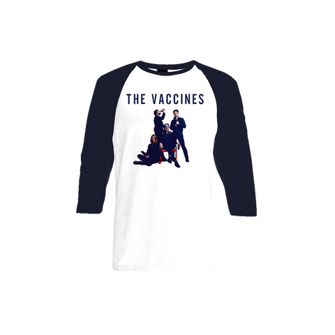 Album Cover White and Navy Baseball Tee
