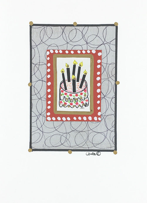 Big Candles Birthday Cake Constance Kay Art Card Store