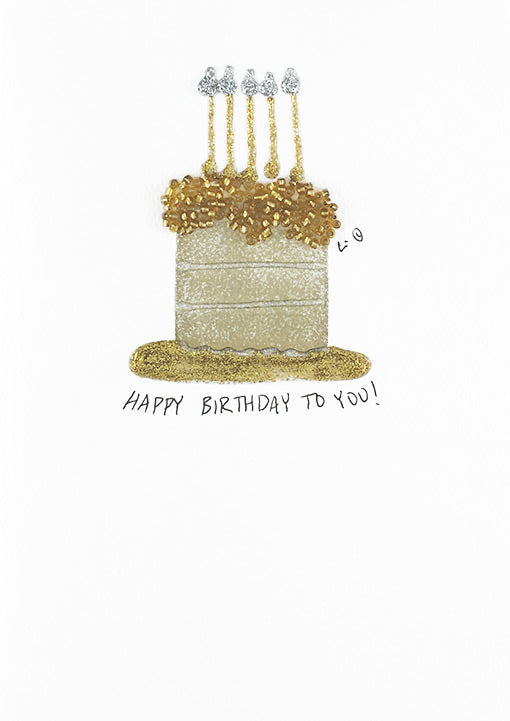 Golden Birthday Cake Constance Kay Art Card Store
