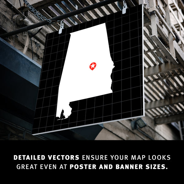 Detailed vectors ensure your map looks great even at poster and banner sizes.