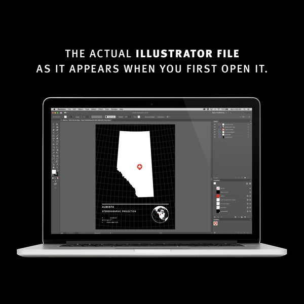 The actual illustrator file as it appears when you first open it.