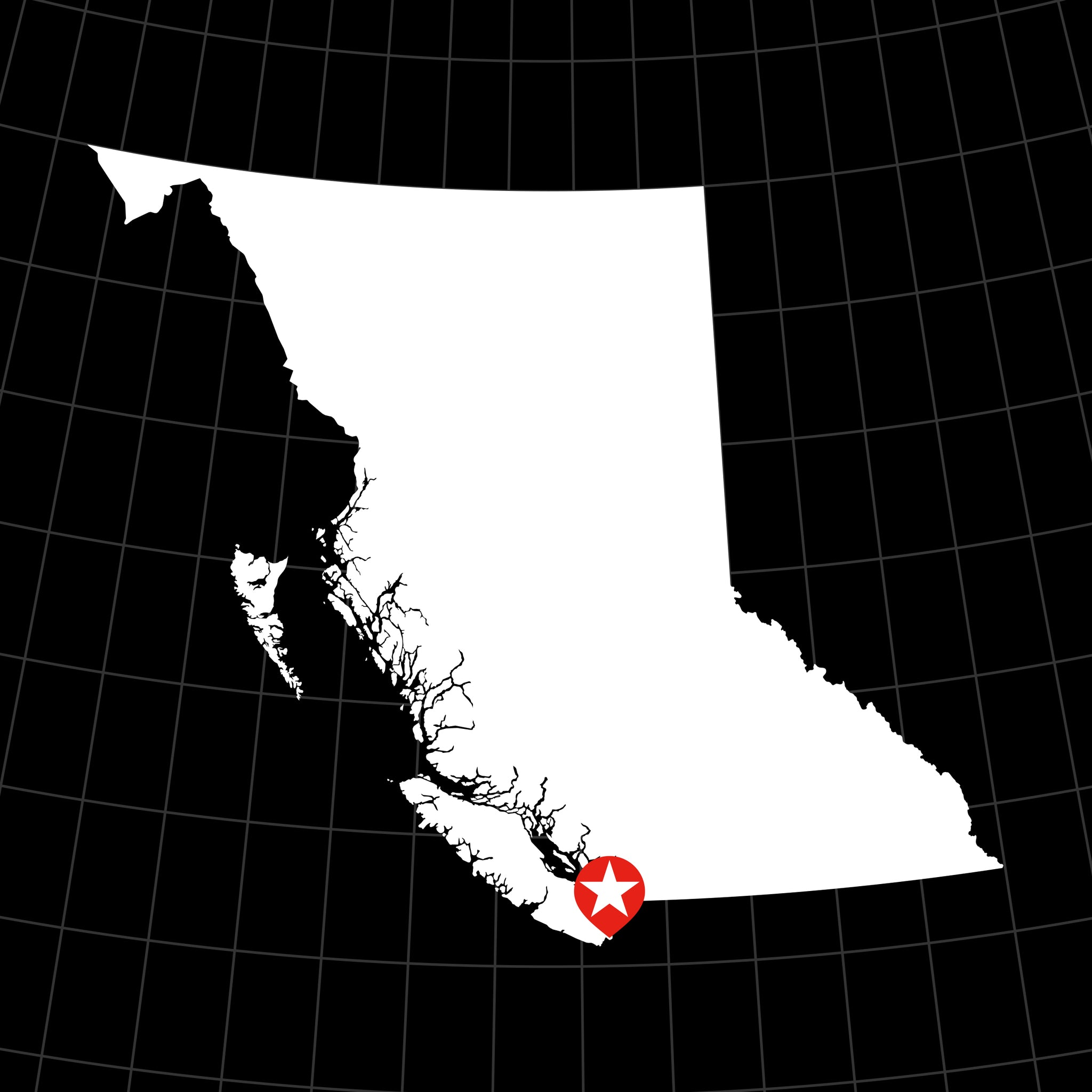 Digital Vector Map of British Columbia, Canada
