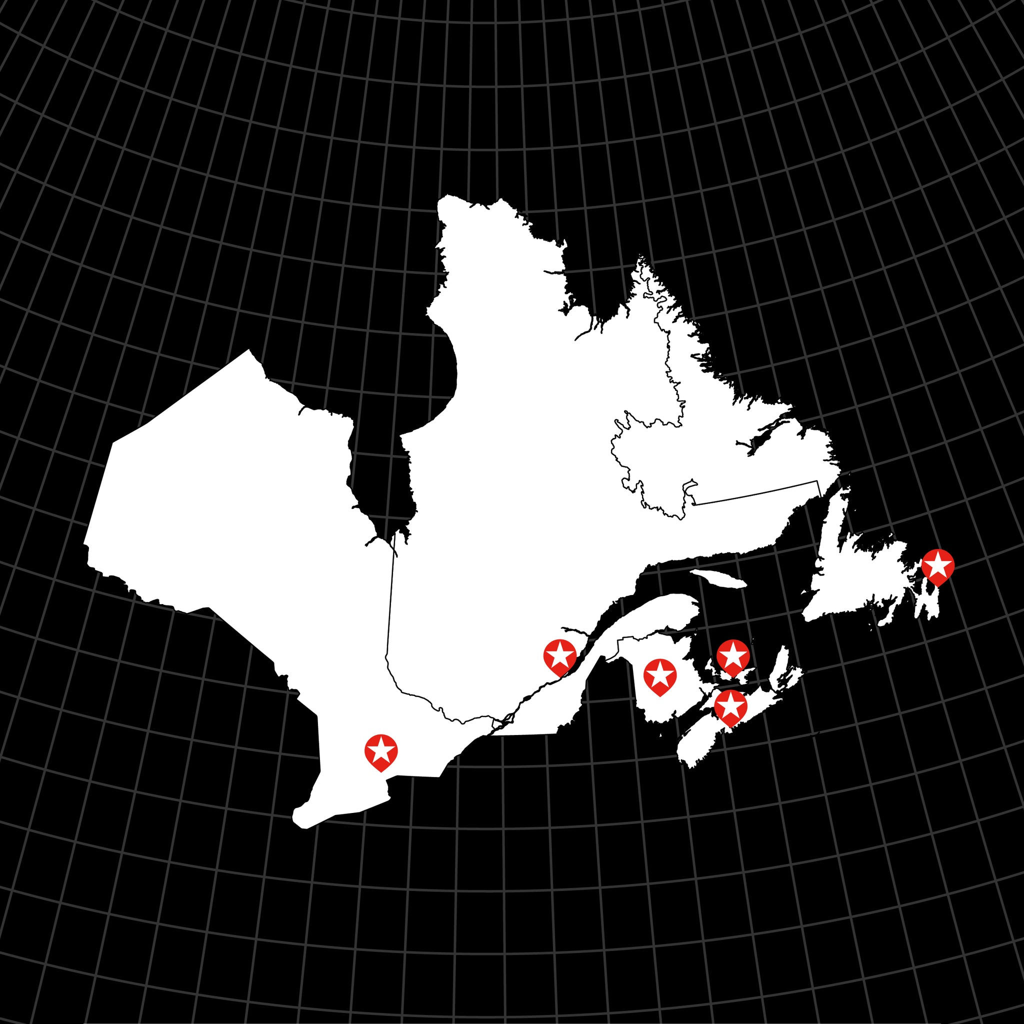 Digital Vector Map of Canada: Eastern Provinces