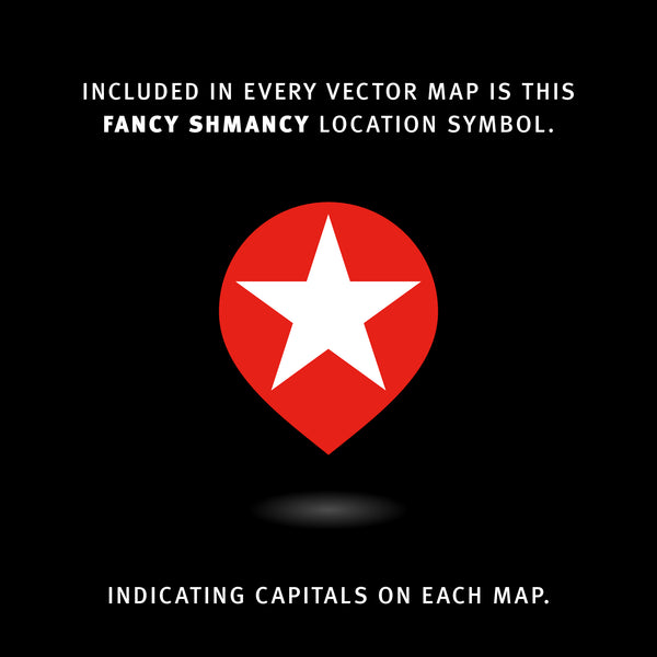 Included in every vector map is this fancy shmancy location symbol. Indicating Capitals on each map.