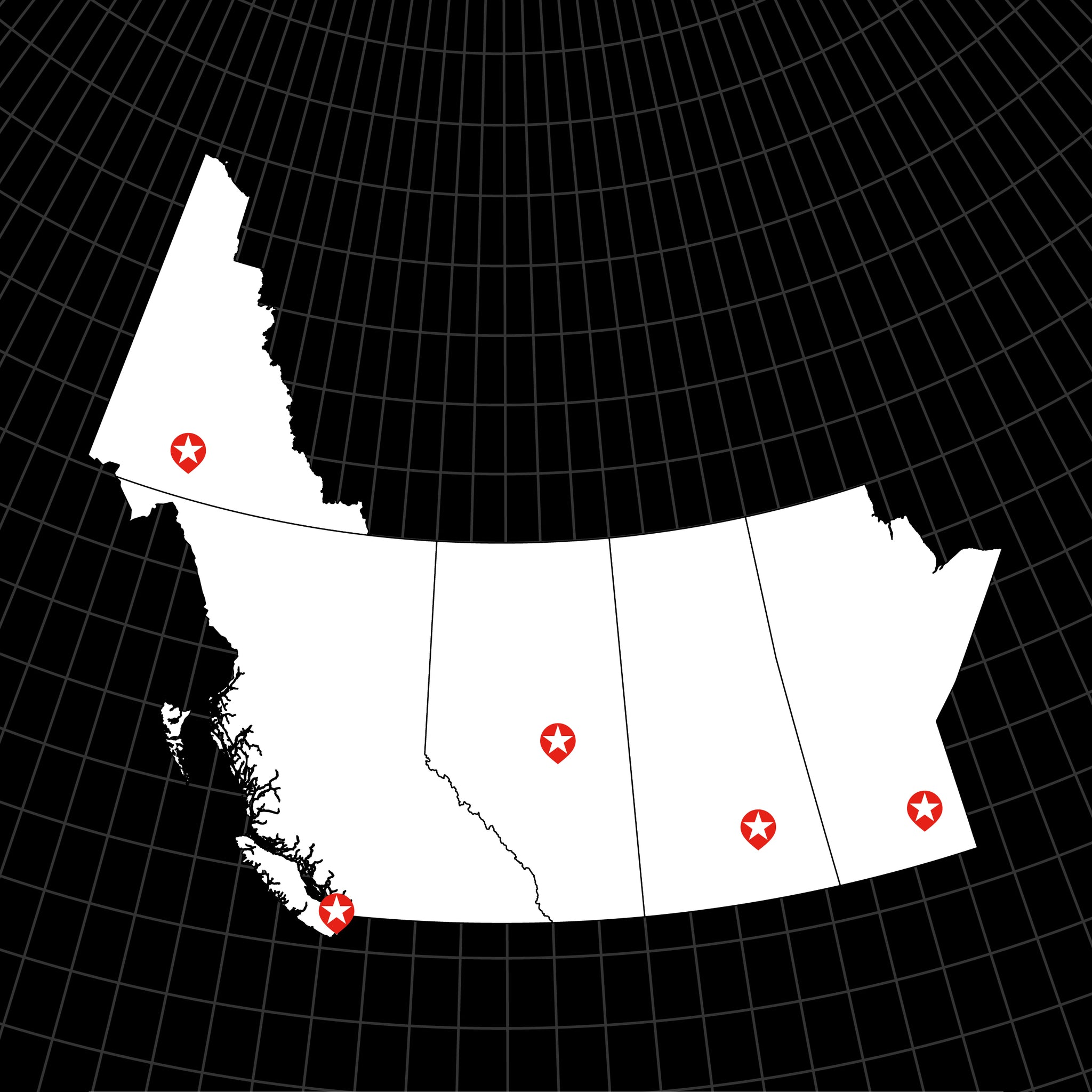 Digital Vector Map of Canada: Western Provinces
